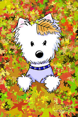 Westie Digital Art - Autumn Jewel by Kim Niles