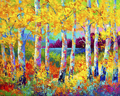 Birch Tree Painting - Autumn Jewels by Marion Rose