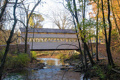 Autumn - Knox Covered Bridge - Valley Forge Print by Bill Cannon