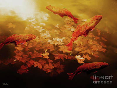 Fallen Leaf On Water Mixed Media - Autumn Koi Pond by KaFra Art