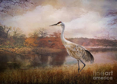 Waterfowl Painting - Autumn Lake Crane by Janice Rae Pariza