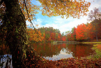 Photograph - Autumn Lake Oil Painting by Debra and Dave Vanderlaan