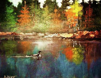 Painting - Autumn Lake Reflections by Al Brown