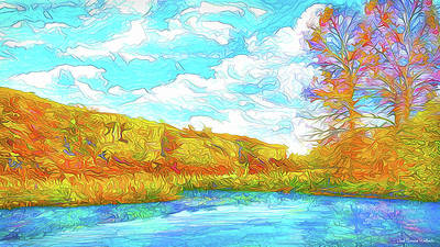 Digital Art - Autumn Lake Reflections - Park In Boulder County Colorado by Joel Bruce Wallach