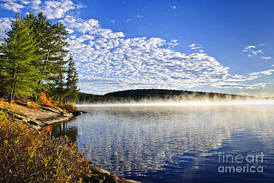 Algonquin Photograph - Autumn Lake Shore With Fog by Elena Elisseeva