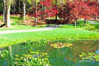Autumn Leaf On Water Digital Art - Autumn Landscape At Gibbs Gardens In Georgia Usa by Vizual Studio