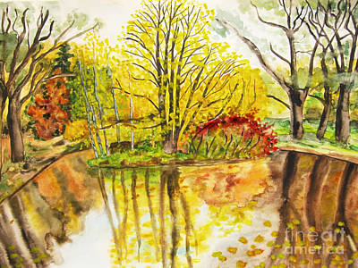 Painting - Autumn Landscape, Hand Drawn Picture by Irina Afonskaya