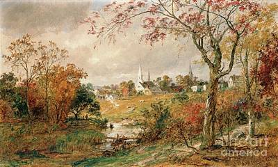 Tree Leaf On Water Painting - Autumn Landscape by Jasper Francis Cropsey