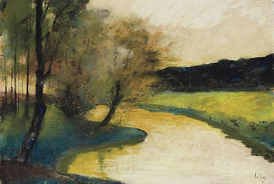 Autumn Landscape Of Brook In The Evening Light Art Print