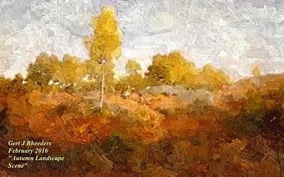 Water Droplets Sharon Johnstone - Autumn Landscape Scene L A by Gert J Rheeders
