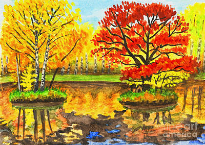 Painting - Autumn Landscape, Watercolours by Irina Afonskaya