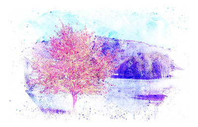 Impact Drawing - Autumn Landscape With A Background In Watercolor. by Stefano Gervasio