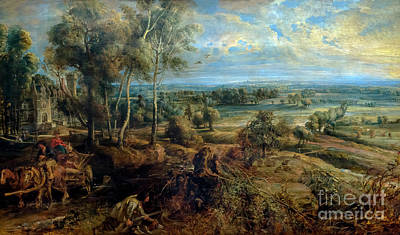 Autumn Landscape With A View Of Het Steen In The Early Morning,  Art Print