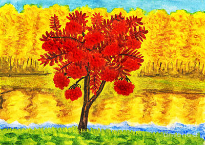 Painting - Autumn Landscape With Ash Tree, Painting by Irina Afonskaya