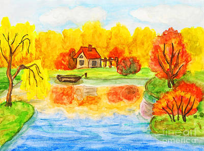 Painting - Autumn Landscape With House, Painting by Irina Afonskaya