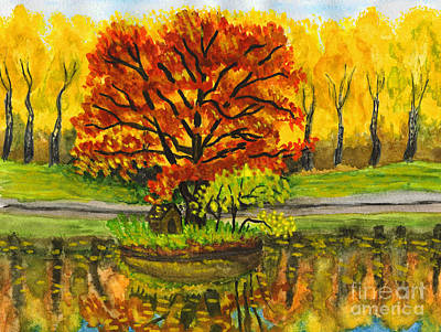 Painting - Autumn Landscape With Red Tree, Painting by Irina Afonskaya