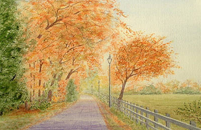 Painting - Autumn Lane - Royden Park, Wirral by Peter Farrow