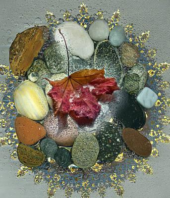 Photograph - Autumn Leaf On Wet Pebbles by Vladimir Kholostykh