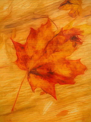 Painting - Autumn Leaf On Wood by Dan Sproul