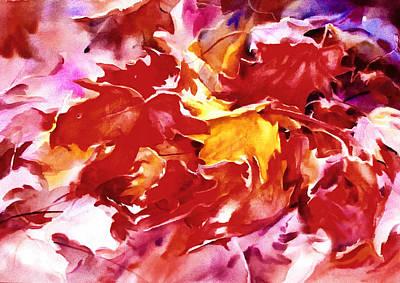 Mixed Media - Autumn Leaves Abstract by Georgiana Romanovna