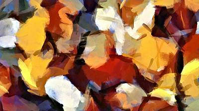 Digital Art - Autumn Leaves Abstract Pano by Patricia Strand