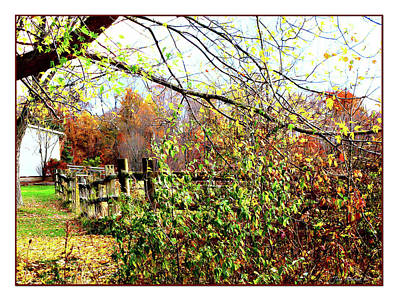 Cleveland Digital Art - Autumn Leaves Against A Fence by Joan  Minchak