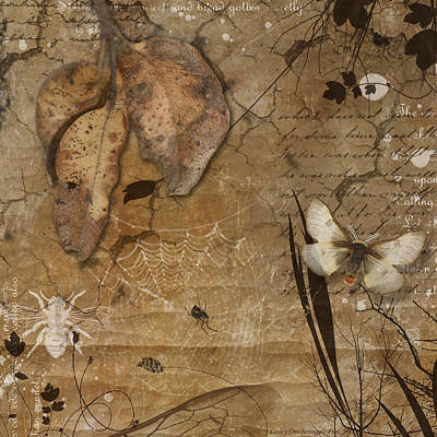 Journal Digital Art - Autumn Leaves And Moth by Lesley Smitheringale