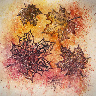 Maple Leaf Art Drawing - Autumn Leaves / Brightness Of Fall by Rera Kryzhnaya