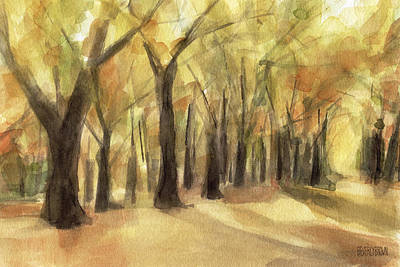 Sepia Painting - Autumn Leaves Central Park by Beverly Brown