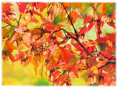 Art Print featuring the digital art Autumn Leaves by Christina Lihani