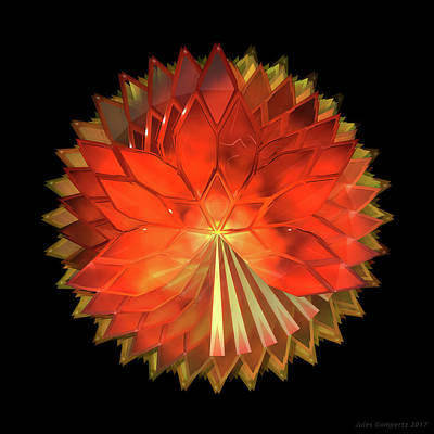Futuristic Digital Art - Autumn Leaves - Composition 2 by Jules Gompertz