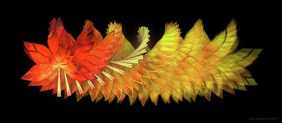 Glass Wall Art - Digital Art - Autumn Leaves - Composition 2.2 by Jules Gompertz