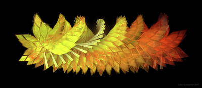 Glass Digital Art - Autumn Leaves - Composition 2.3 by Jules Gompertz