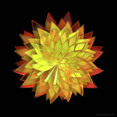 Glass Wall Art - Digital Art - Autumn Leaves - Composition 4 by Jules Gompertz