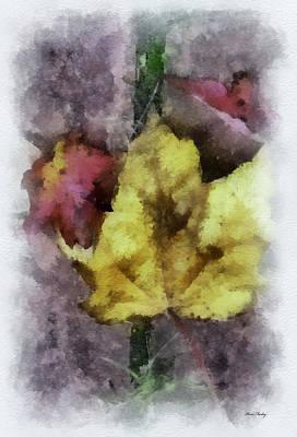 Photograph - Autumn Leaves - Digital Watercolor by Kerri Farley