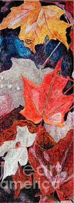 Drawings Royalty Free Images - Autumn Leaves Royalty-Free Image by Glenda Zuckerman