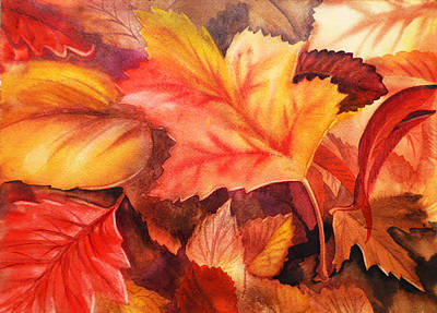 Thank Painting - Autumn Leaves by Irina Sztukowski