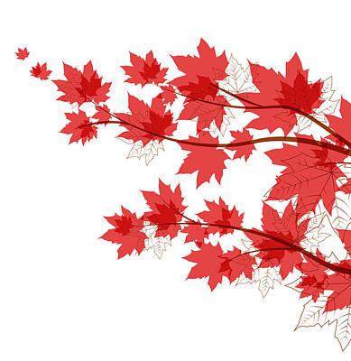 Maple Leaf Art Drawing - Autumn Leaves by Miroslava Hlavacova