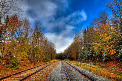 Autumn Leaves On The Tracks Art Print