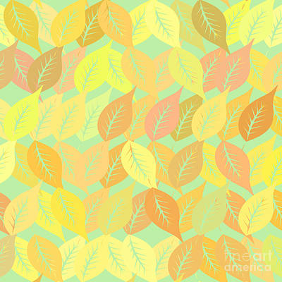 Autumn Art Digital Art - Autumn Leaves Pattern by Gaspar Avila