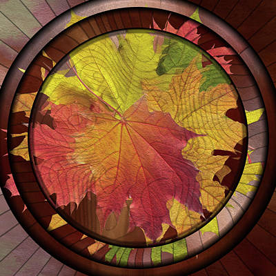 Digital Art - Autumn Leaves Pressed Contemporary Art Deco by Georgiana Romanovna