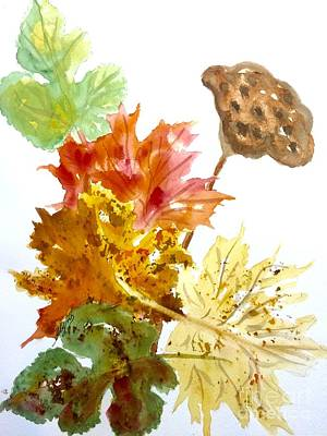 Autumn Leaves Still Life Art Print by Ellen Levinson