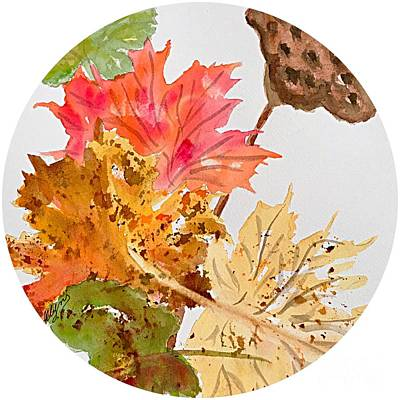 Painting - Autumn Leaves Still Life Round  by Ellen Levinson