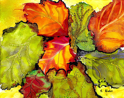 Abstract Alcohol Inks - Autumn Leaves by Susan Kubes