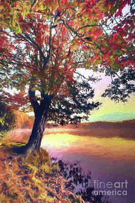 Painting - Autumn Leaves Tree At Blue Ridge Lake Ap by Dan Carmichael