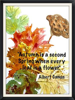 Painting - Autumn Leaves W Camus Quote by Ellen Levinson