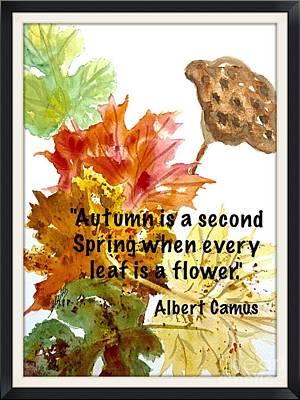 Painting - Autumn Leaves W Camus Quote by Ellen Levinson