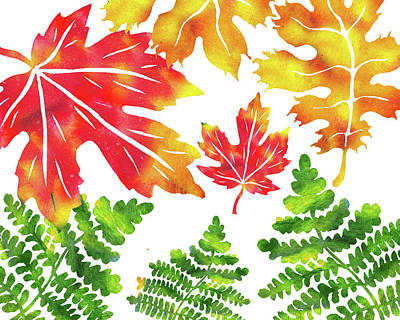 Painting - Autumn Leaves Watercolor Silhouettes by Irina Sztukowski