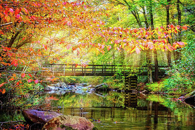 Photograph - Autumn Light At The Bridge by Debra and Dave Vanderlaan