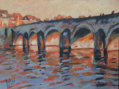 River Painting - Autumn Light Through The Saint Servaas Bridge Maastricht by Nop Briex